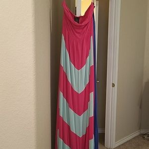 Pink and mint strapless maxi - M